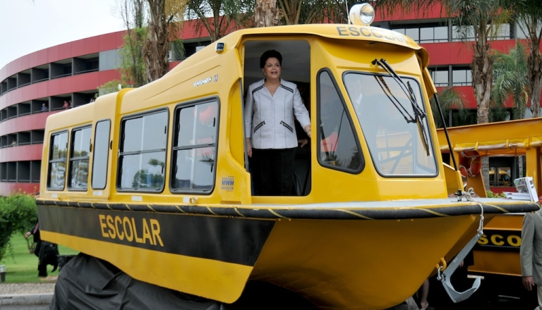 <p>Brazilian President Dilma Rousseff visits a school boat designed to transport schoolchildren in rural and riverside communities, during the