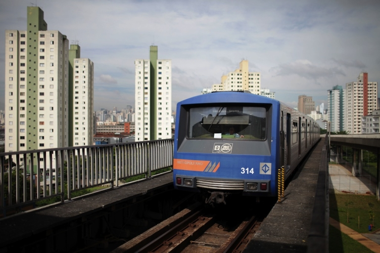 <p>A train arrives at Bresser station in downtown São Paulo, Brazil, on January 27, 2010.</p>