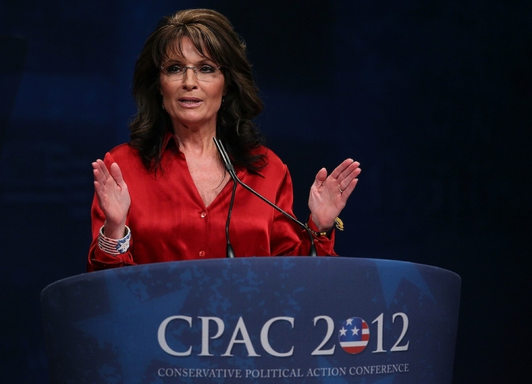 <p>WASHINGTON, DC - FEBRUARY 11: Former Alaska Governor, Sarah Palin addresses the Conservative Political Action Conference (CPAC), at the Marriott Wardman Park Hotel, on February 11, 2012 in Washington, DC. (Photo by Mark Wilson/Getty Images)</p>