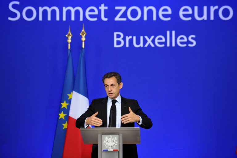 <p>French President Nicolas Sarkozy gestures during a press conference held at the end of a Eurozone summit at the Justus Lipsius building, EU headquarters in Brussels, on October 27, 2011.</p>