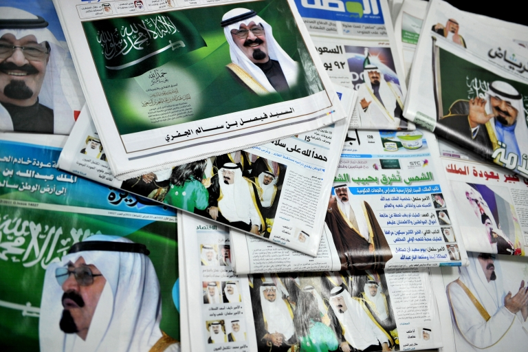 <p>A picture shows the front pages of Saudi newspapers featuring a story on the return of King Abdullah bin Abdul Aziz in the Saudi capital Riyadh on Feb. 23, 2011 as he flew out of Morocco and headed home after recovering from back surgery.</p>