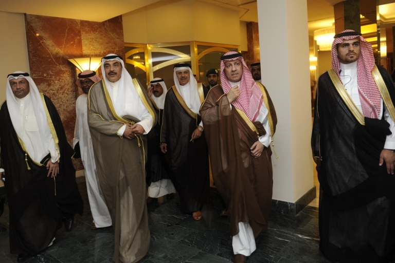 <p>Gulf Cooperation Council officials arrive at the conference hall where a ministerial meeting was held on June 5, 2012 in the Saudi Red Sea port city of Jeddah. Saudi Arabia's Foreign Minister Prince Saud al-Faisal urged Gulf states to mobilize their resources in response to uprising around the region.</p>