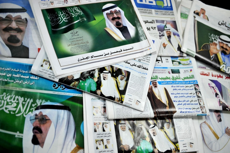 <p>The front pages of Saudi newspapers featuring a story on the return of King Abdullah bin Abdul Aziz in the Saudi capital Riyadh on Feb. 23, 2011 as he flew out of Morocco and headed home after recovering from back surgery.</p>
