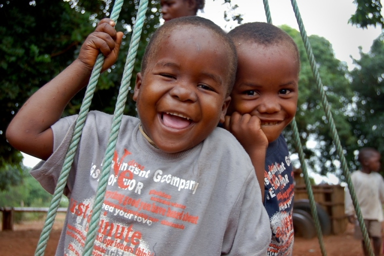<p>Twins Samuel and Pedro, 5-year-old orphans cared for by their grandmother, attend the Escolinha Comunitaria (community-based pre-school) in Guemulene Village in Xai Xai District of Mozambique.</p>