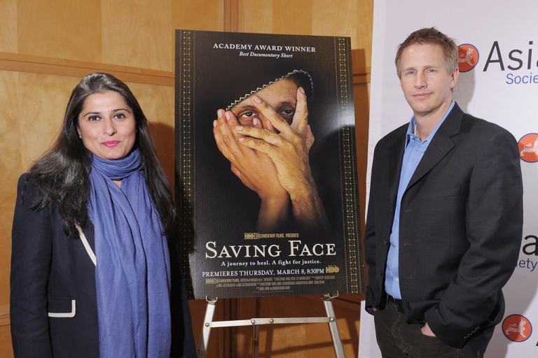 <p>Producer Sharmeen Obaid-Chinoy and director Daniel Junge attend HBO's documentary screening of the Oscar winning film