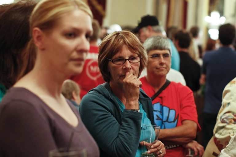 <p>Milwaukee Mayor Tom Barrett supporters watch early election returns on June 5, 2012 in Milwaukee. According to early results, Gov. Scott Walker defeated Barrett in a recall election. Opponents of Walker forced a recall election after the governor pushed to change the collective bargaining process for public employees in the state.</p>