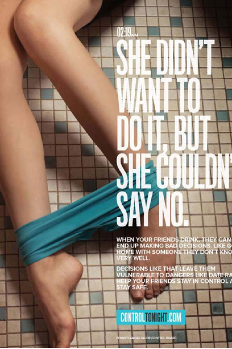 <p>This ad from the online campaign, Control Tonight, was pulled down from its site after sparking controversy that it placed the blame of date rape on the victim.</p>