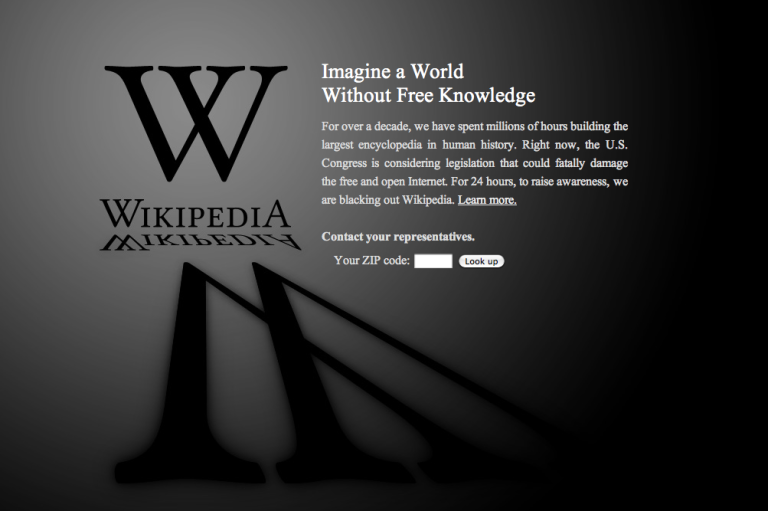 <p>Wikipedia is only one of thousands of websites that have gone dark to protest SOPA.</p>