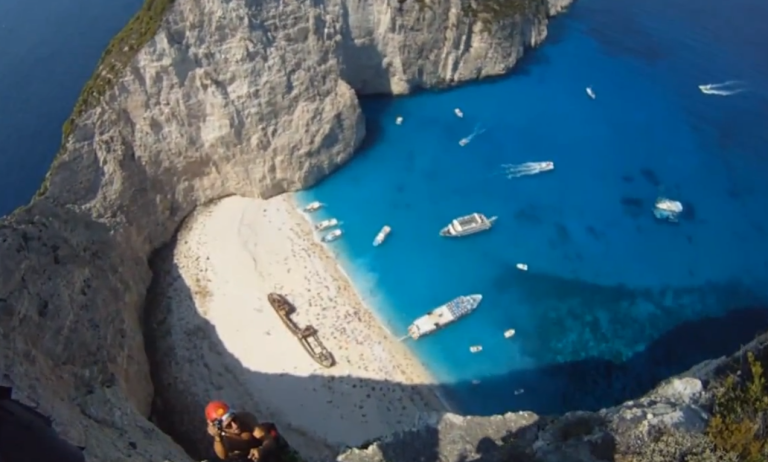<p>A cliff popular with BASE jumpers in Zante (Zakynthos) in Greece.</p>