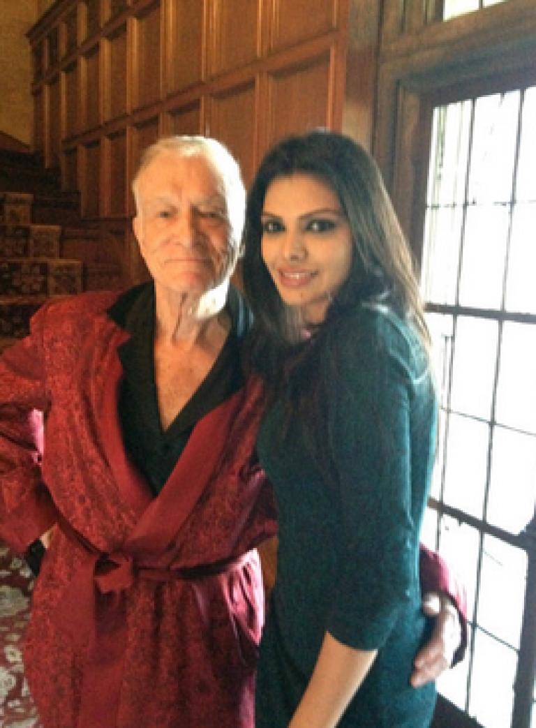 <p>Sherlyn Chopra seen here with Hugh Hefner at the Playboy mansion.</p>