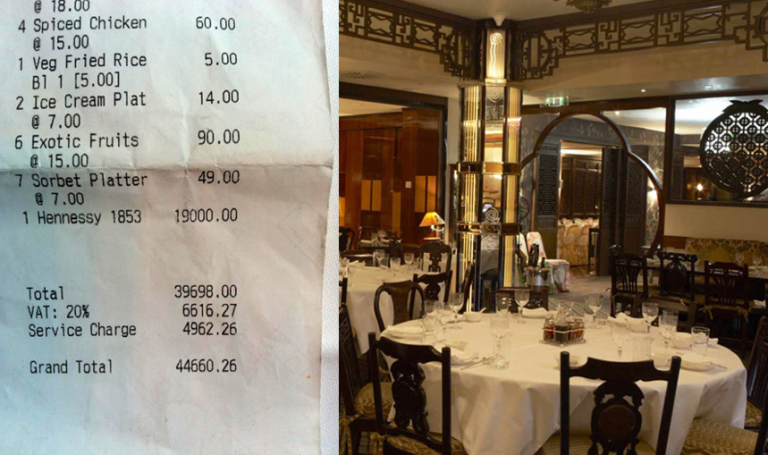 <p>A copy of the receipt in question and the China Tang restaurant.</p>