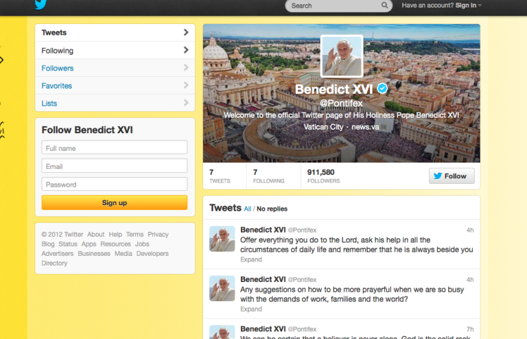 <p>A screenshot of Pope Benedict XVI's twitter account.</p>