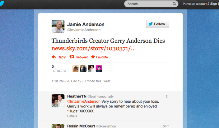 <p>A screengrab from the Twitter page of Jamie Anderson, son of