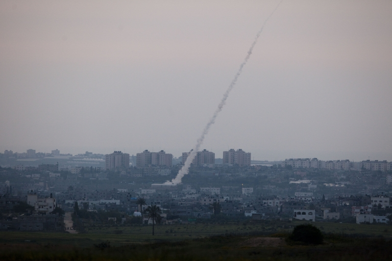 <p>A rocket being launched from Gaza is seen from the Israeli side of the border.</p>