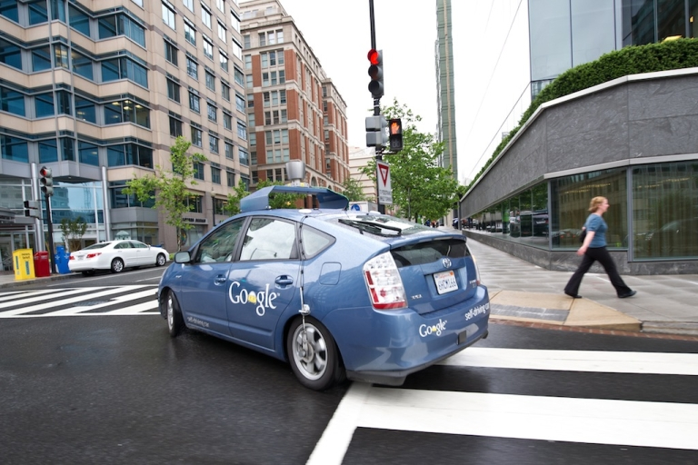 <p>The Google self-driving car maneuvers through the streets of in Washington, DC May 14, 2012. The system on a modified Toyota Prius combines information gathered from Google Street View with artificial intelligence software that combines input from video cameras inside the car, a LIDAR sensor on top of the vehicle, radar sensors on the front of the vehicle and a position sensor attached to one of the rear wheels that helps locate the car's position on the map. Google expects that the increased accuracy of its automated driving system could help reduce the number of traffic-related injuries and deaths, while using energy and space on roadways more efficiently.</p>