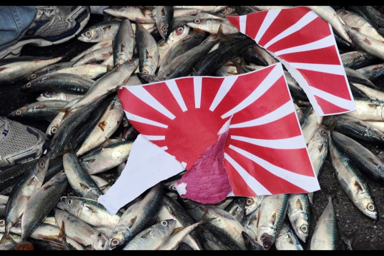 <p>A torn apart Japanese 'Rising Sun' flag is placed on dead fish during a demonstration in front of the Japan Exchange Association over the continued diplomatic Senkaku Islands dispute between Tokyo and Beijing.</p>