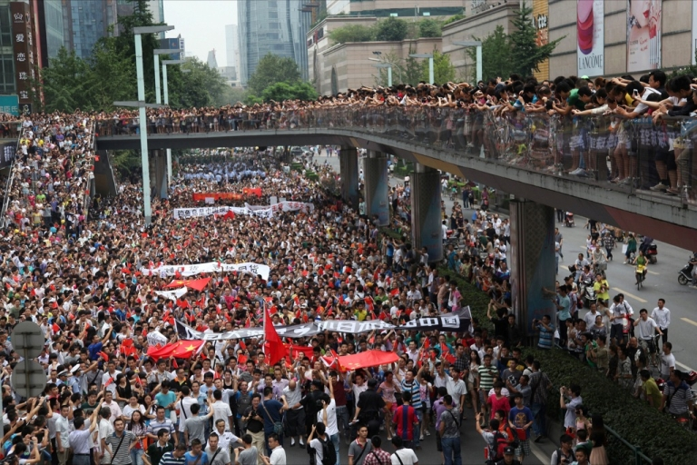 <p>This picture taken on August 19, 2012 shows thousands of Chinese protesters as they take part in a demonstration in Chengdu, southwest China's Sichuan province against Japan's claim of the Diaoyu islands, as they are known in Chinese, or Senkaku islands in Japanese.</p>