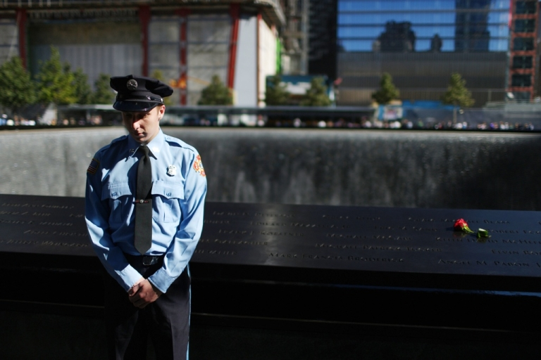 <p>Zachary Ellicott, who lost a family member Keith James Burns, observes a moment of silence for US Flight 93 that crashed near Shanksville, Pennsylvania, during memorial ceremonies to mark the Sept. 11, 2001 attacks. New York City and the nation are commemorating the 11th anniversary of 9/11.</p>