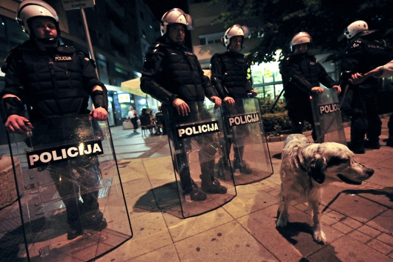 <p>A dog walks in front of riot police as demonstrators try to protest over the arrest of former Bosnian Serb military chief Ratko Mladic in Belgrade on May 26, 2011.</p>