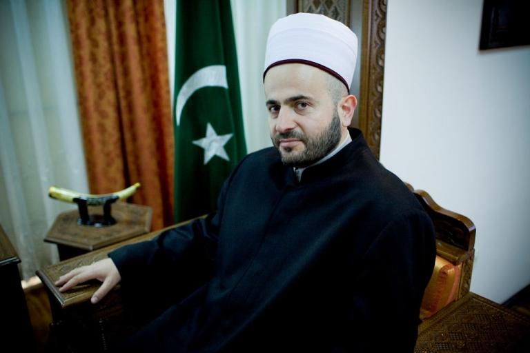 <p>Bosniak mufti Muamer Zukorlic photographed in his office in Novi Pazar, Serbia on Oct. 25, 2010.</p>