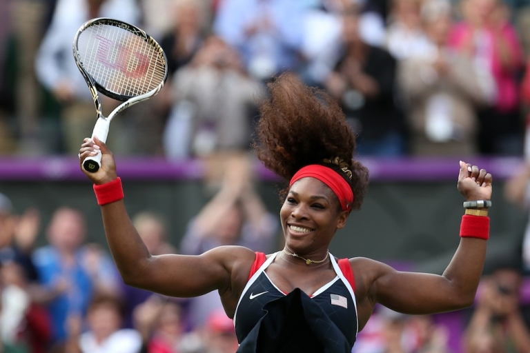 <p>Serena Williams of the United States reacts after defeating Maria Sharapova of Russia to win the gold medal match of the Women's Singles Tennis on Day 8 of the London 2012 Olympic Games.</p>
