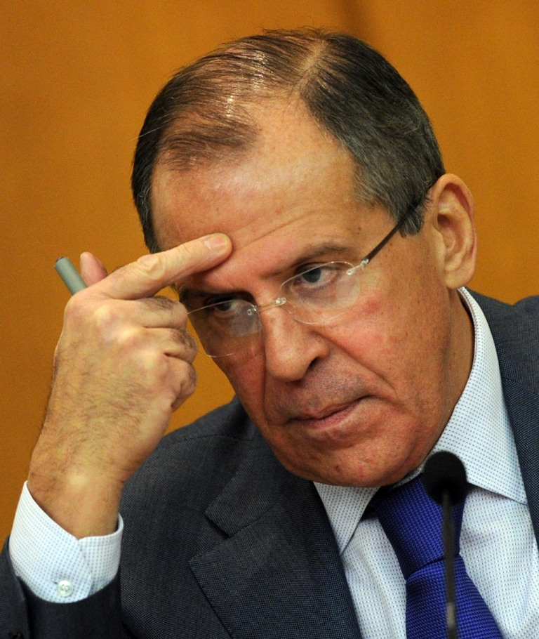<p>Russia's Foreign Minister Sergey Lavrov speaks at his press conference in Moscow , on January 18, 2012. Lavrov accused today Western powers of trying to 'suffocate' the Iranian economy and incite popular discontent with new sanctions such as a proposed oil embargo. AFP PHOTO / YURI KADOBNOV</p>