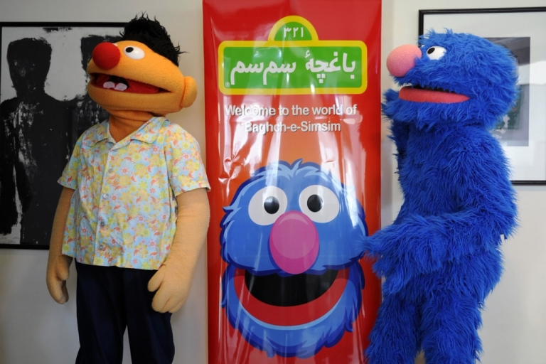 <p>Kajkoal and Hadi, or Ernie and Grover to most, at the launching of the Afghan version of Sesame Street, Baghch-e-SimSim, on Nov. 30 in Kabul.</p>