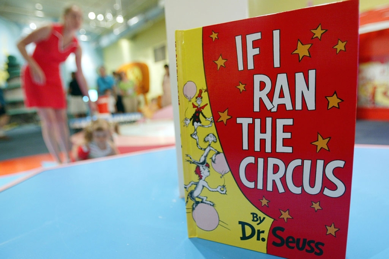 <p>A Dr. Seuss book sits as children play at an exhibition dedicated to Dr. Seuss at the Children's Museum of Manhattan in New York City.</p>