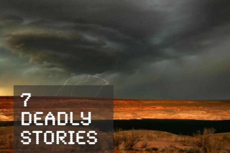 <p>Lightning strikes as a much-needed rain storm comes to Lake Powell which is marked by a 100-foot thick
