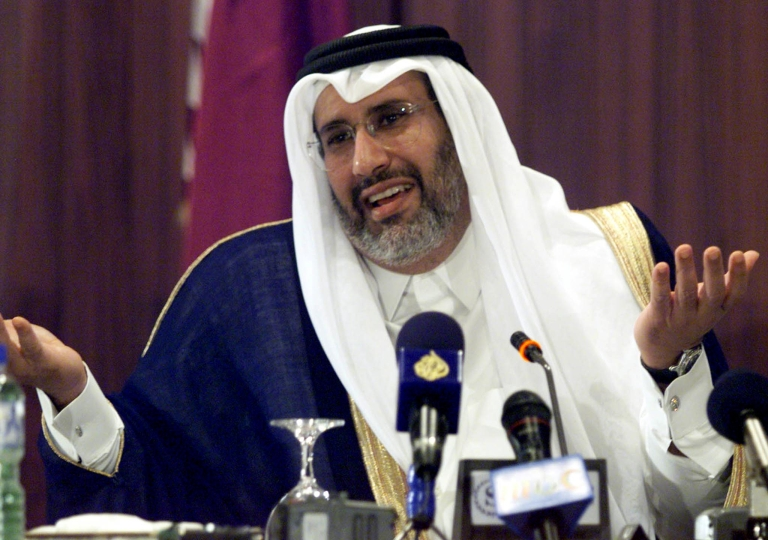 <p>Qatari Foreign Minister Sheikh Hamad Ben Jassem Ben al-Thani speaks at a press conference 09 November 2000.</p>