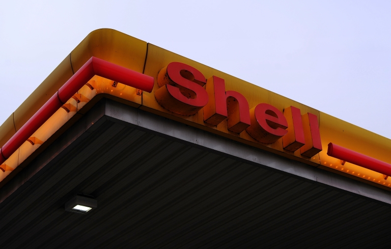 <p>A Shell gasoline station in Duesseldorf, Germany.</p>