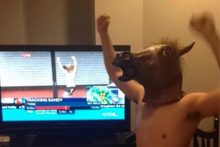<p>Shirtless Horse Man, aka as Jimmy Kruyne of Arlington, Virginia, posted this picture to his Twitter account after photobombing a Hurricane Sandy live shot that's since gone viral.</p>