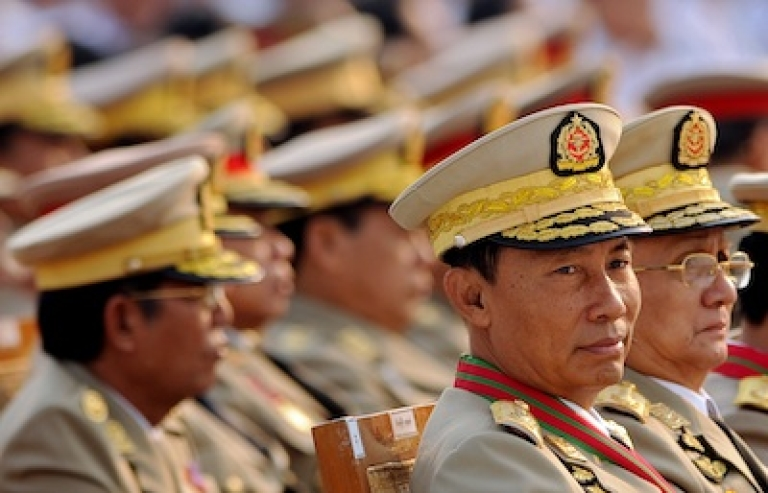 <p>Former Myanmar general-turned-house speaker Thura Shwe Mann and president Thein Sein attend a military parade marking the country's 65th Armed Forces day at a parade ground on March 27, 2010.</p>