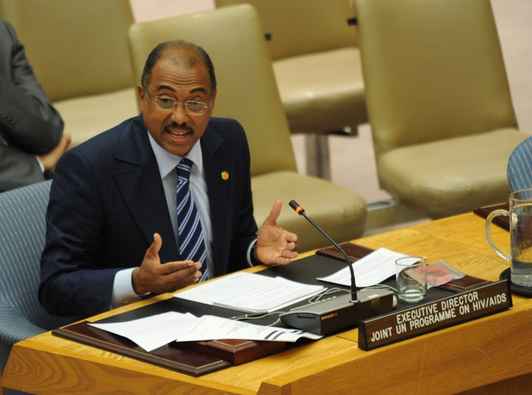 <p>Michel Sidibé, Executive Director of UNAIDS, speaks before a United Nations Security Council meeting on the impact of the HIV/AIDS epidemic on international peace and security at UN headquarters in New York on June 7, 2011.</p>