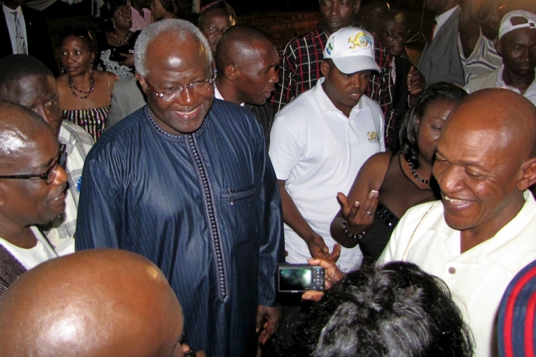 <p>Sierra Leone's President Ernest Bai Koroma greeting guests after delivering a speech at an April 23, 2011, reception celebrating the 50th anniversary of Sierra Leone's independence.</p>