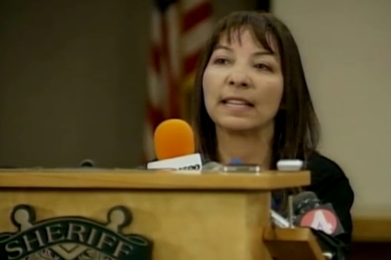 <p>Sierra LaMar's mother Marlene speaks to reporters at a press conference Tuesday. Her daughter, who went missing on her way to school in March, is suspected to have been murdered by 21-year-old Antolin Garcia Torres.</p>