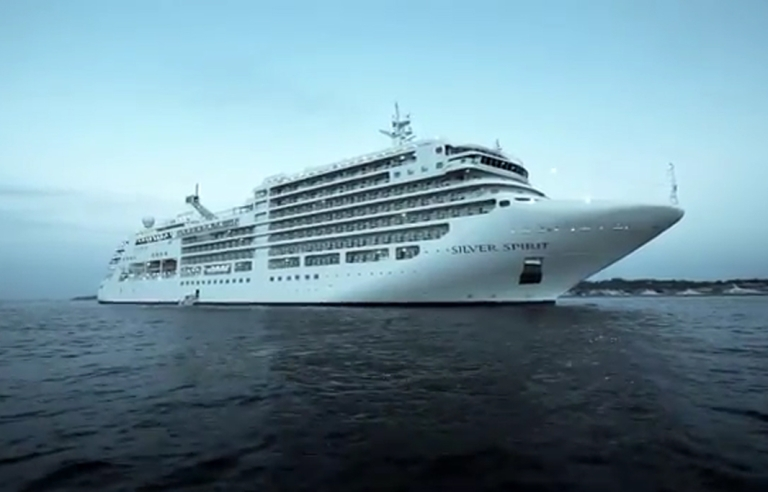 <p>A cruise ship appears in this still image taken from a promotional YouTube video for Silversea Cruises.</p>