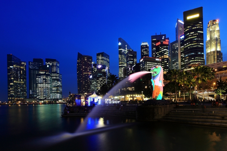 <p>A general view of the Merlion and the central business district skyline in Singapore</p>