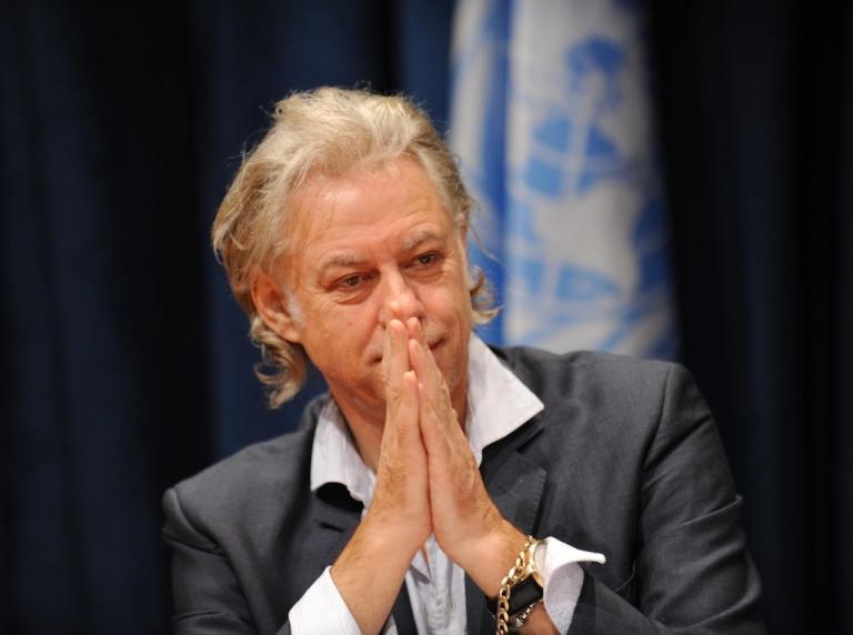 <p>Musician and activist Bob Geldof attends a press conference on the situation in the Horn of Africa during the United Nations General Assembly September 24, 2011 at UN headquarters in New York.</p>