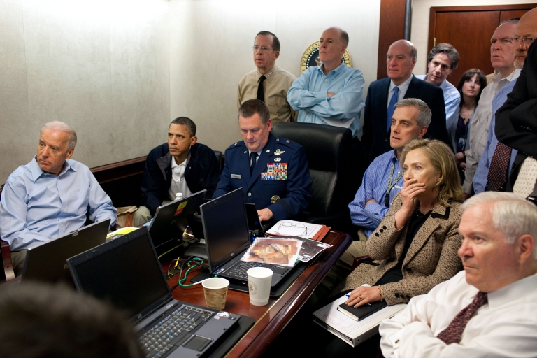 <p>President Barack Obama and Vice President Joe Biden, along with with members of the national security team, receive an update on the mission against Osama bin Laden in the Situation Room of the White House, May 1, 2011.</p>