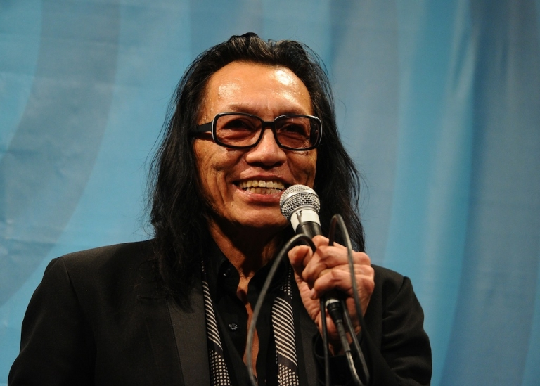 <p>Musician Sixto Rodriguez speaks at a 'Searching for Sugar Man' screening at the 2012 SXSW Music, Film + Interactive Festival at Paramount Theatre on March 13, 2012, in Austin, Texas.</p>