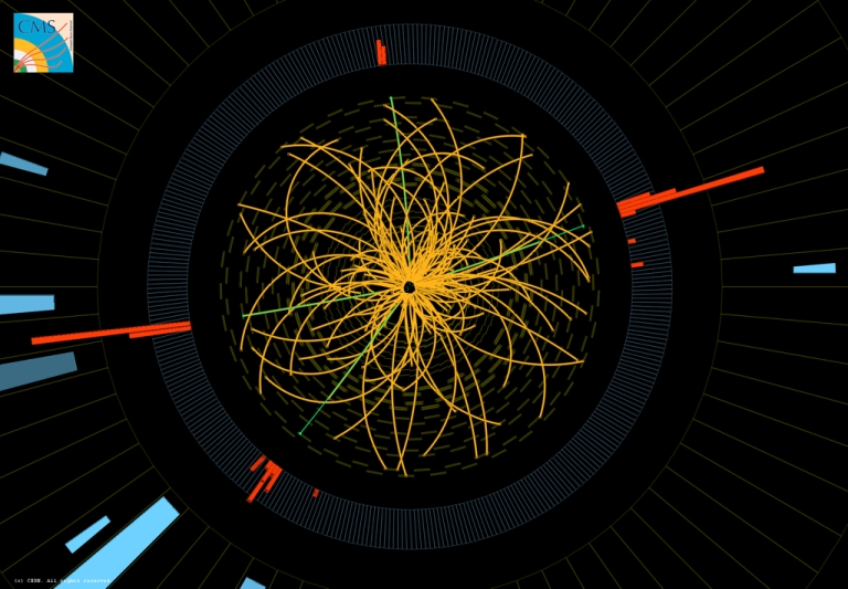 <p>This image shows proton collisions from the Large Hadron Collider's CMS experiment. Four high-energy electrons (green lines and red towers) are visible. The event shows characteristics expected from the decay of a Higgs boson but is also consistent with background Standard Model physics processes.</p>