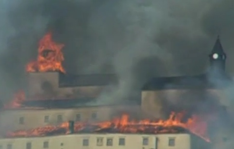 <p>This image from BBC video shows the Krasna Horka castle in Slovakia on fire in March 2011.</p>