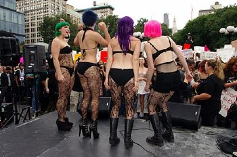 <p>SlutWalkers in action. New York City's Union Square, October 2011.</p>