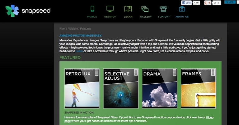 <p>Snapseed, a photo-editing app by Nik software, is now available free on Android.</p>