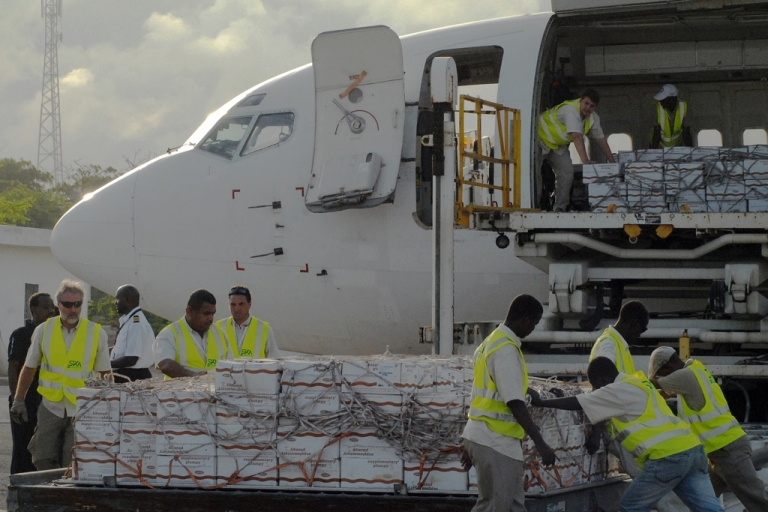 <p>The first airlift of humanitarian food aid arrived at the Aden Abdulle Osman International Airport in Mogadishu, Somalia on July 27, 2011. The World Food Program airlifted 10 tons of emergency supplies to Mogadishu to feed thousands of malnourished children in drought-hit Somalia. Somalia is the country worst affected by the Horn of Africa's prolonged drought - the region's worst in 60 years - that has put some 12 million people in danger of starvation. But Somalia's Al Shabaab rebels are blocking distribution of food aid.</p>