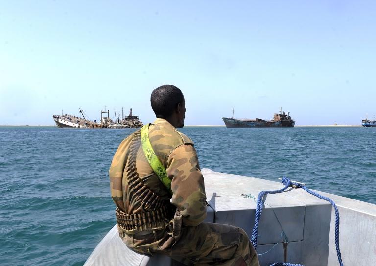 <p>A Somali coastguard patrols off the coast of Somalia's breakaway Republic of Somaliland.</p>