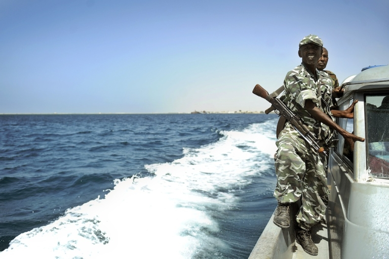 <p>Somali coastguards patrol off the coast of Somalia's breakaway Republic of Somaliland on March 30, 2011. Piracy has flourished and turned increasingly violent over the last few years.</p>