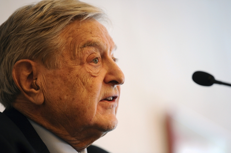 <p>Retired hedge fund manager George Soros at Davos today.  He expressed concern that the euro zone's austerity policies would create social unrest that would engulf Europe.</p>