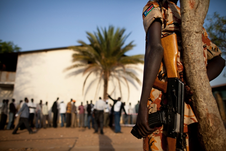 <p>Southern Sudanese security forces on guard in Juba. Fighting broke out between soldiers in the capital on December 15, 2013, witnesses said, in what some observers branded a